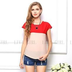 LIVA GIRL - Short-Sleeve Colour Block Chiffon Top