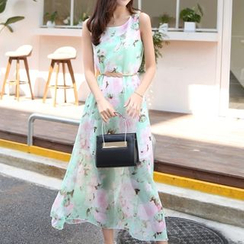MayFair - Floral Print Midi Chiffon Sundress