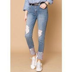 J-ANN - Distressed Skinny Jeans