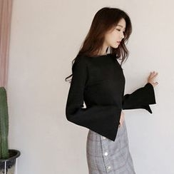 Hello sweety - Boat-Neck Slit-Sleeve Rib-Knit Top