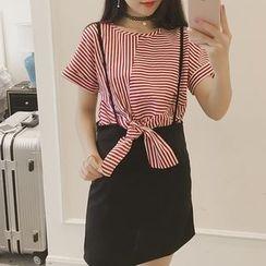 HazyDazy - Set: Striped Short Sleeve T-Shirt + Suspender Mini Skirt