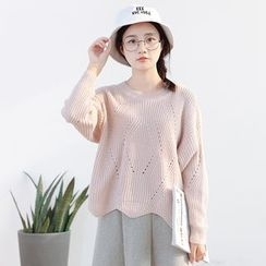 Forest Girl - Scallop Trim Perforated Sweater