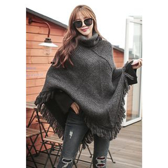 REDOPIN - Turtleneck Fringed Knit Cape