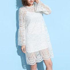 Myrtle - Set: Lace Bell-Sleeve Dress + Strap Dress