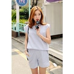 REDOPIN - Set: Linen Short-Sleeve Top + Shorts