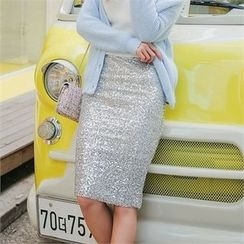 Babi n Pumkin - Banded-Waist Sequined Skirt
