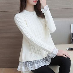 Ageha - Lace Underlay Sweater