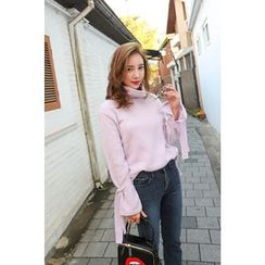 PPGIRL - Turtle-Neck Tie-Sleeve Knit Top