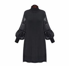 lilygirl - 蕾丝灯笼袖直身连衣裙
