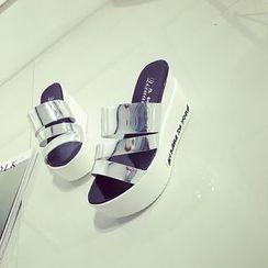 BAYO - Letter Platform Slide Sandals