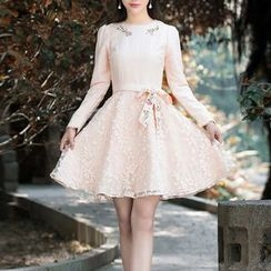 MUSI - Long-Sleeve Mock Two Piece A-line Dress