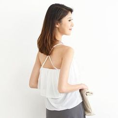 SO Central - Ruffled Cross-Strap Chiffon Camisole