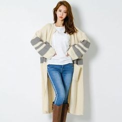 FASHION DIVA - Contrast-Trim Long Waffle-Knit Cardigan