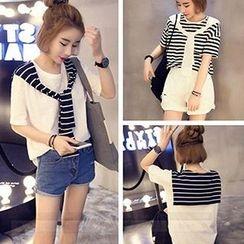 Shimi - Striped Mock Two-Piece T-Shirt