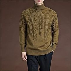 THE COVER - Turtle-Neck Cable-Knit Sweater