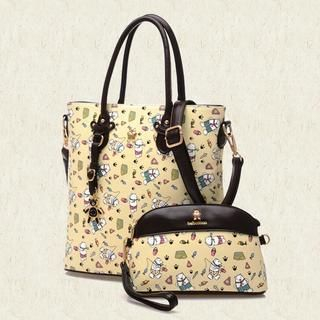 BeiBaoBao - Faux-Leather Patterned Tote with Pouch