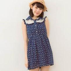 Tokyo Fashion - Lace-Panel Heart-Print Sleeveless Shirtdress