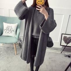 Qimi - Set: Long Chunky Cardigan + Plain Chunky Sweater
