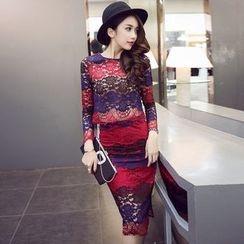 Clospace - Set: Lace Long-Sleeve Top + Pencil Skirt