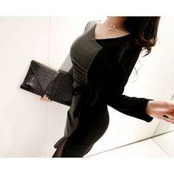 Marlangrouge - Tie-Waist Color-Block Mini Bodycon Dress