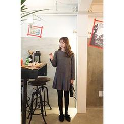 CHERRYKOKO - Pleat-Hem Wool Blend Mini Shift Dress