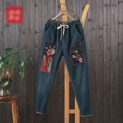 aerokiss - Flower Embroidered Drawstring Jeans