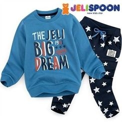 JELISPOON - Boys Set: Lettering Sweatshirt + Pattern Sweatpants