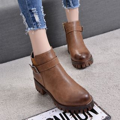 One100 - Chunky-Heel Platform Buckled Ankle Boots