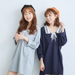 BAIMOMO - Long-Sleeve Tie-Front Long Top