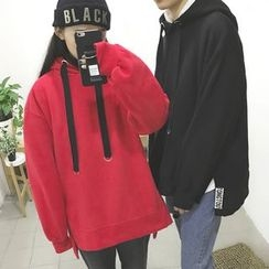 JUN.LEE - Plain Fleece-lined Hoodie