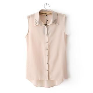 Flower Idea - Sleeveless Studded-Collar Chiffon Blouse