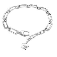 Bling Bling - Bling Bling Platinum Plated 925 Sterling Silver Star With Diamond Accent Bracelet (0.005ct)
