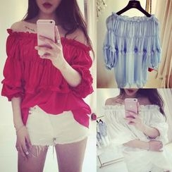Whitney's Shop - Ruffle Off-Shoulder Chiffon Top