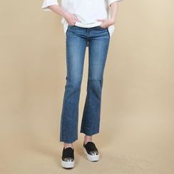 Vintage Vender - Distressed Boot-Cut Jeans