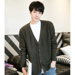 ABOKI - V-Neck Single-Button Cardigan