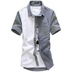 Danjieshi - Color-Block Gingham Panel Shirt