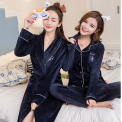 Fancy Show - Dressing Gown / Pajama Set: Long-Sleeve Blouse + Pants