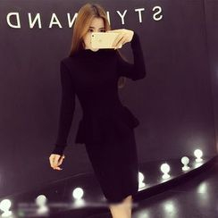 RUI - Set : Peplum Knit Top + Skirt