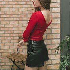 clubber - Faux-Leather Hot Pants