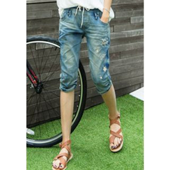REDOPIN - Band-Waist Distressed Jeans
