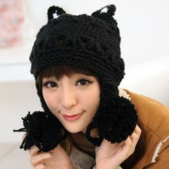 59 Seconds - Cat-Ear Pompom Beanie