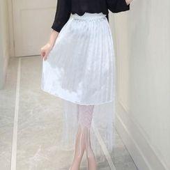 Cobogarden - Mesh Panel Chiffon Skirt