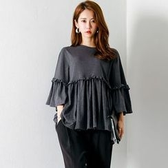 FASHION DIVA - Frill-Trim Shirred Cotton Top
