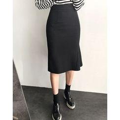 UPTOWNHOLIC - Ruffle-Detail Midi Skirt