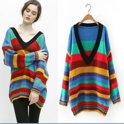 MayFair - Striped V-Neck Long Sweater