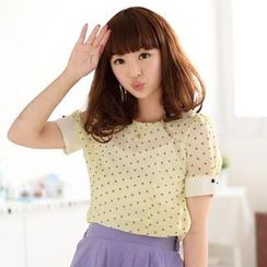 59 Seconds - Short-Sleeved Contrast Cuff Dotted Top