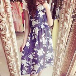 Fashion Street - Mock Two-piece Floral Print Cap Sleeve Dress