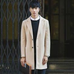 LIBIN - Notch Lapel Long Woolen Coat