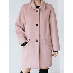 FROMBEGINNING - Contrast-Button Wool Blend Coat