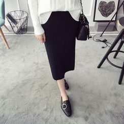 Qimi - Ribbed Midi Skirt